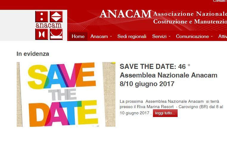 Saremo presenti alla 46ma Assemblea Nazionale Anacam.